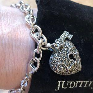 Judith Jack Sterling/Marcasite Heart Lock Bracelet